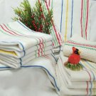 Red Yellow Blue Green Striped Linen Towels and Dish Cloth