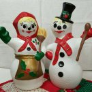 2 Piece Vintage Mr. & Mrs. Frosty - Gare 1970 Hand Painted Ceramic