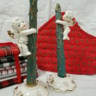 Relco Christmas Angel candle huggers & holders w/ wooden candles
