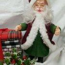 Vintage Flocked Plastic Santa Figure
