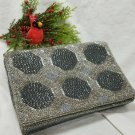 Vintage Silver/Gray Beaded Evening Clutch