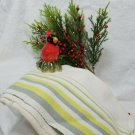 FABULOUS Startex Lime and Gray Striped Tea Towel