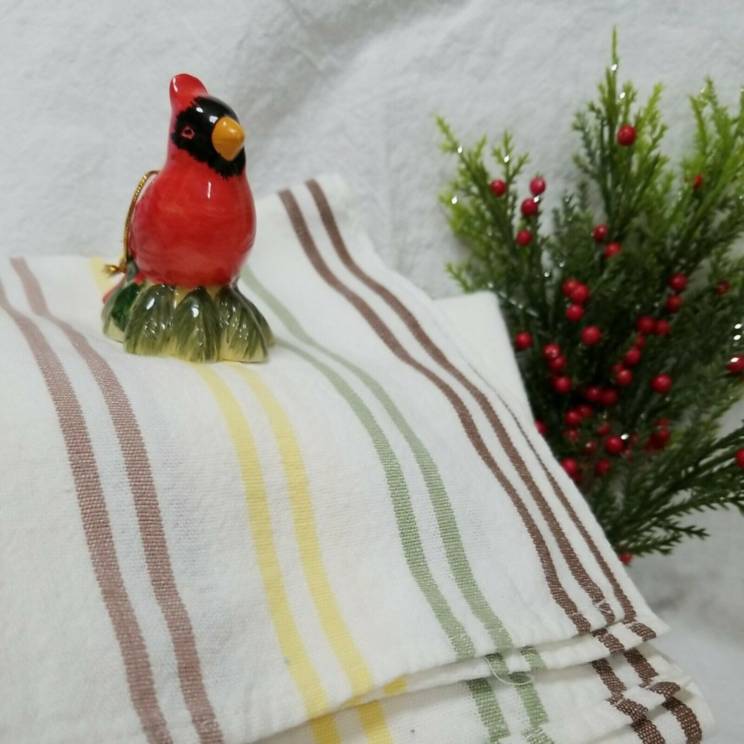 Fabulous Large Cotton/Linen Towel with Tan, Yellow, Green and Brown Stripes