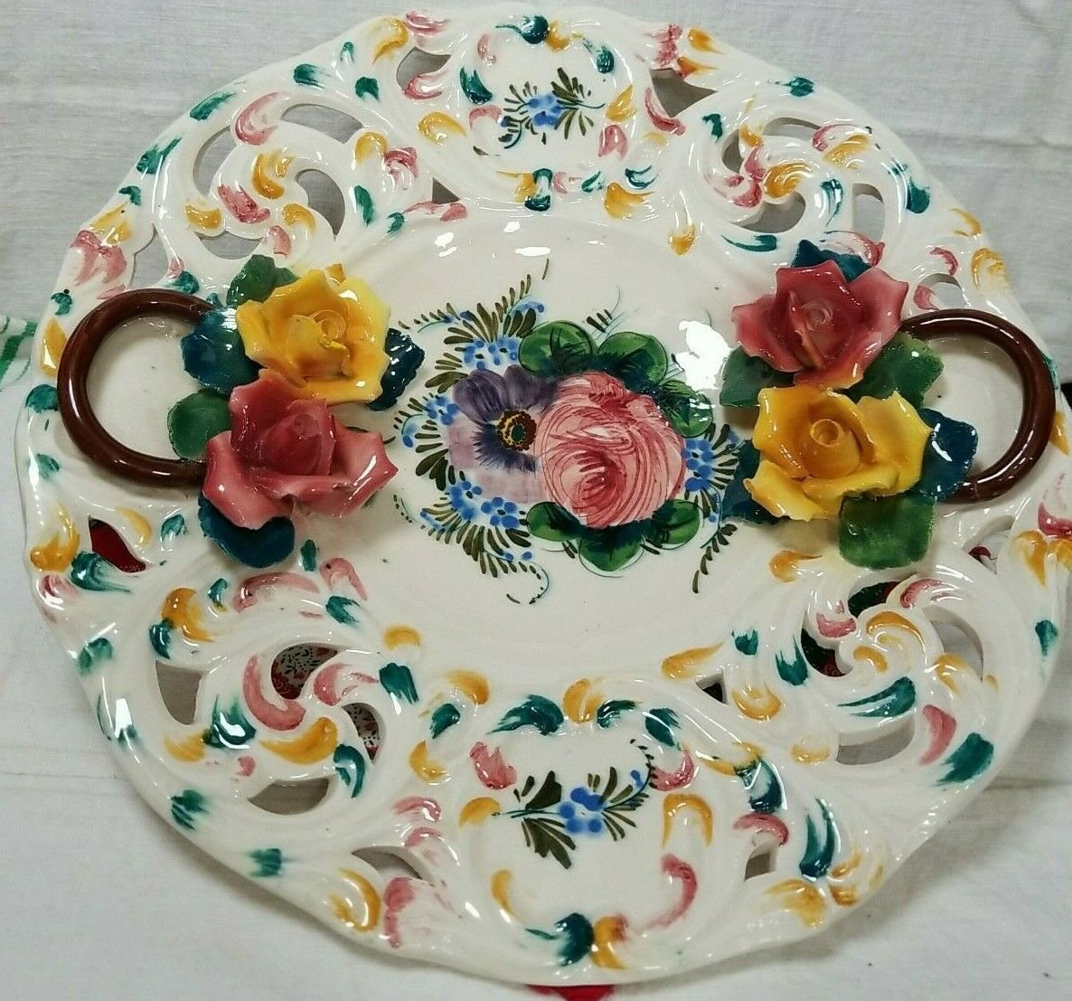 """Vintage CAPODIMONTE Porcelain Floral Plate - Hallmarked """"Italy"""" Plate 28 of 100"""