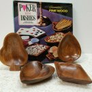 Vintage Poker Playing Mini Dishes Genuine Acacia Wood Snack Size 1950s - 1960s