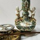 Vintage Capodimonte Trophy Lamp RARE Aqua/Teal Color - BEAUTIFUL Ca 1920s-1940s