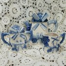 Vintage Delft Windmill Country Teapot Creamer Sugar Set