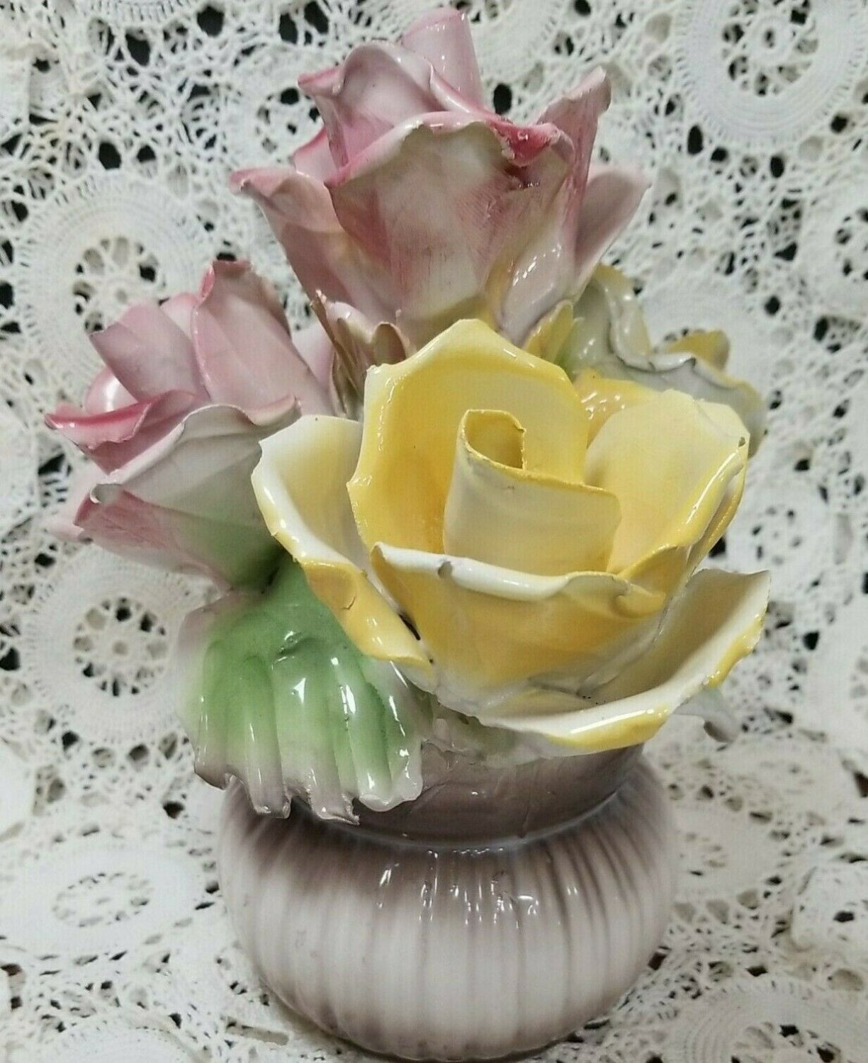 Capodimonte Porcelain Centerpiece Pink and Yellow Roses