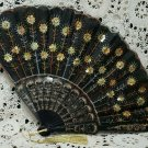 Vintage Black Embroidered Cloth Hand Fan with Sequin Flowers - Gold/Black