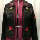 Tally Ho Woman's Wool Embroidered Jacobean Floral Cardigan/Jacket