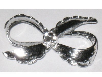 Silver tone Bow Pin, Signed Gerry's, Rhinestone Center
