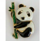 Enamel Panda Bear on Bamboo Stalk Pin, Rhinestone Eyes