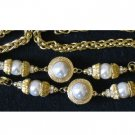Large Gold-tone Imitation Pearl Necklace with Rhinestones!