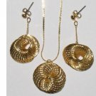 Gold-tone Spiral Circle Necklace and Pierced Earring Set