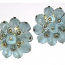 Vintage Blue Clip Earrings, Signed West Germany