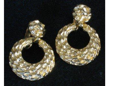 Gold tone Nugget Hoop Clip Earrings