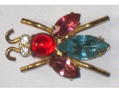 Vintage Coro Rhinestone Fly Pin, Sterling, Signed Designer, Insect