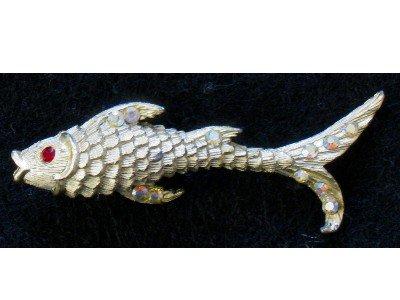 Gold tone Fish Pin, Aurora Borealis Rhinestones, Nautical