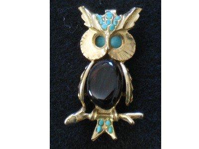 Owl Pin, Turquoise-tone & Polished Stones, Gold tone Bird
