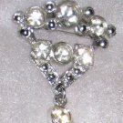 Vintage Signed AJC Rhinestone Pin, Dangle, Articulated Brooch
