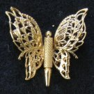 Monet Signed Filigree Butterfly Pin, Gold tone Layers