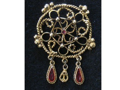 Dream Catcher Gold tone Pin, Red Enamel Dangles, Brooch
