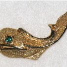 Gold tone Whale Pin, Rhinestone Eye, Fish, Nautical