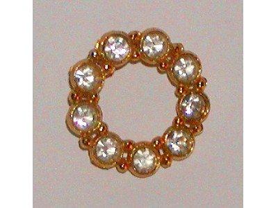 Rhinestone Circle Pin, Gold tone Round Brooch