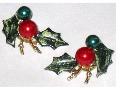 Vintage Christmas Holly Earrings, Screw Back
