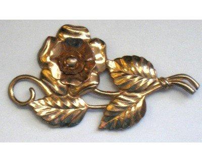 Vintage Sterling Silver Long Stem Rose Pin, Copper Wash