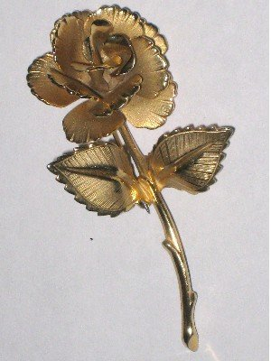 Gold tone Long Stem Rose Pin, Brooch, Matte and Polished Textures
