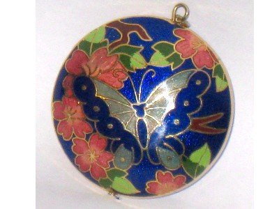 Butterfly Cloisonne Round Pendant, Cobalt Blue, 2 Sided