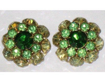 Judy Lee Signed Green Rhinestone Round Clip Earrings