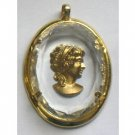 Lucite? Faceted Framed Cameo Pendant, Gold tone Woman