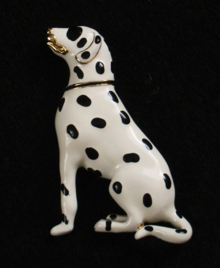 Dalmatian Enamel Pin, Black and White Dalmation Dog, Gold tone Accents