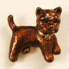 Cute Brown Enamel Dog Pin, Green Rhinestone Eyes, Terrier?