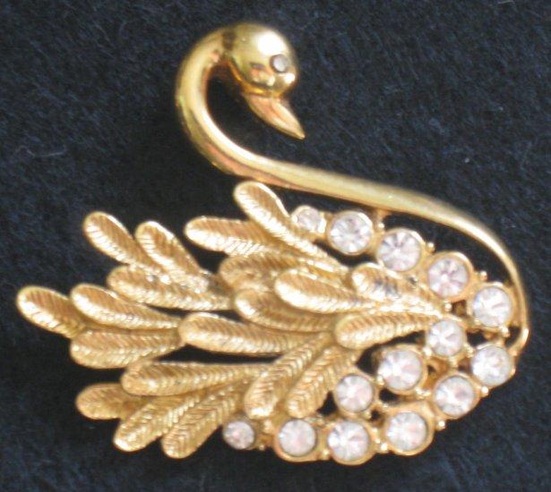 Graceful Swan Pin, Rhinestone, Gold tone Bird