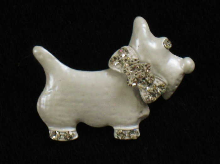 Scottie Dog White Enamel Pin, Rhinestones, Bow, Terrier, Scotty