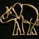 Gold tone Elephant Pin, Red Aurora Borealis Rhinestone