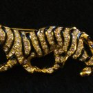 Rhinestone and Black Enamel Tiger Pin, Gold tone