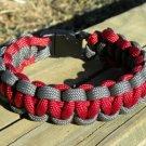 7 Inch Burgundy & Gray Paracord Bracelet
