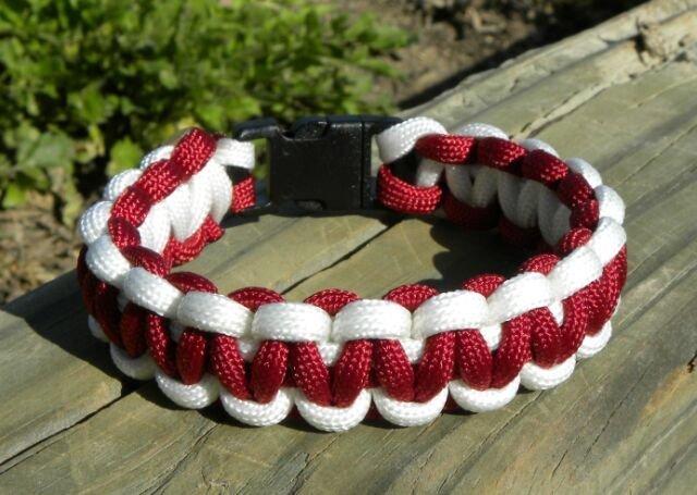 8 Inch Burgundy & White Paracord Bracelet