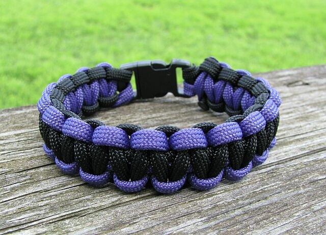 8 Inch Black & Purple Paracord Bracelet