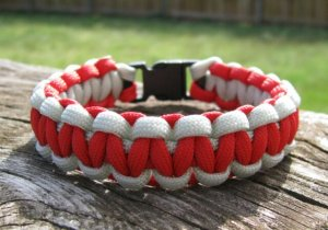 7 Inch Red & Silver Paracord Bracelet