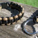 9 Inch Coyote Brown/Black Paracord Bracelet & Key Chain