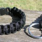 7 Inch Black Paracord Bracelet & Key Chain