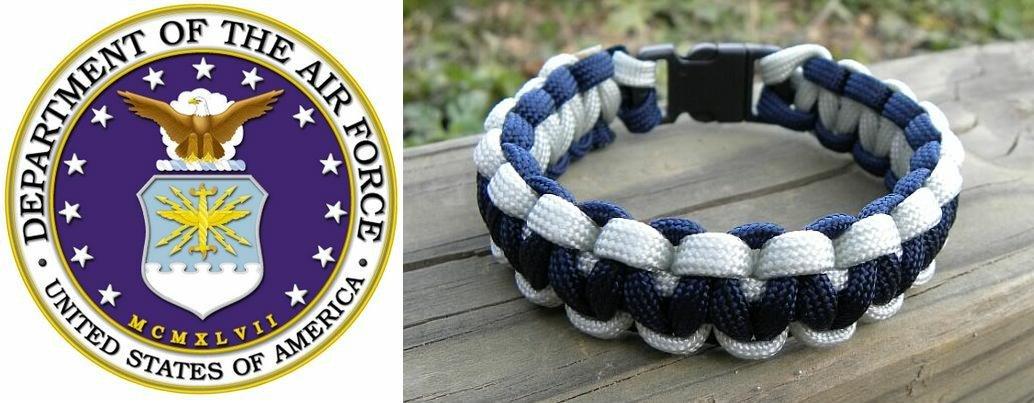 9 Inch Silver & Blue (USAF) Paracord Bracelet