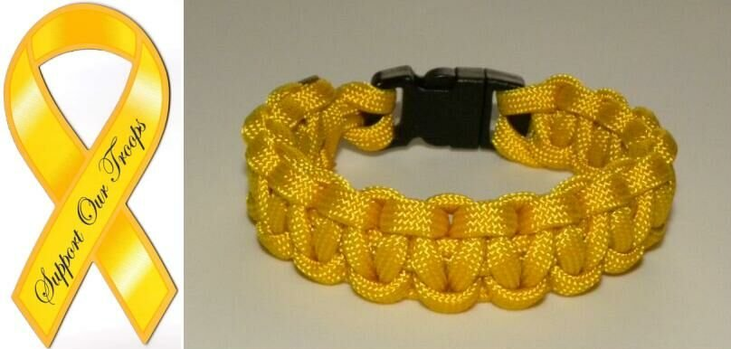 9 Inch Yellow (Support The Troops) Paracord Bracelet