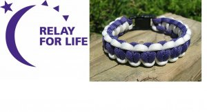 8 Inch Purple & White (Relay For Life) Paracord Bracelet