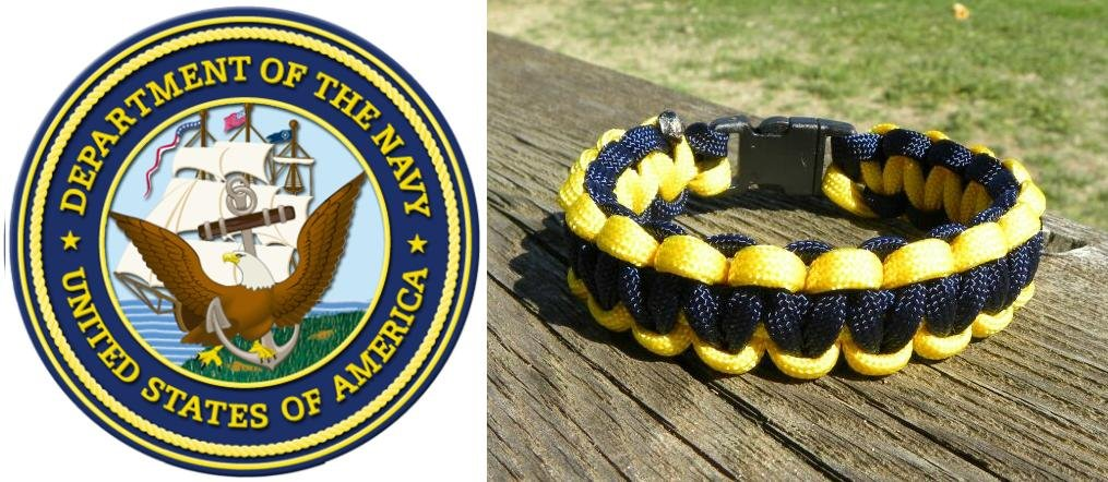 9 Inch - Blue & Yellow (US Navy) Paracord Bracelet